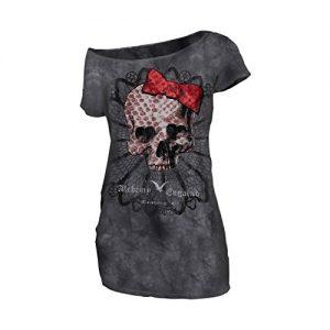 T shirt con teschio e fiocco rosso femminile da ragazza