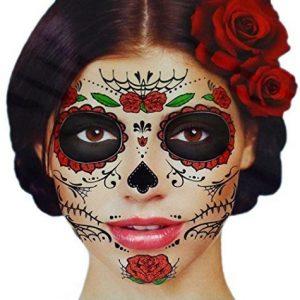 Tatuaggio con Teschio di Zucchero e rose rosse per il viso