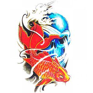 Tattoo teschio giapponese azzurro con pesce rosso