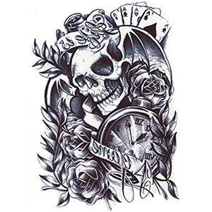 Tatuaggio con Teschio con orologio, rose e assi