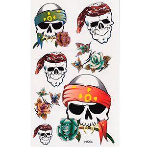 Set di Tatuaggi con Teschi Pirata e Fiori