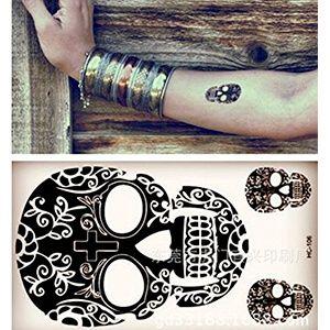 Set di Tatuaggi con Teschio Messicano Nero