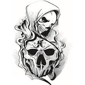 Tatuaggio con Teschio e Morte Incappucciata Bianco e Nero