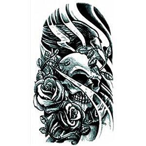 Tatuaggio con Teschio con Rose e Corvo Nero