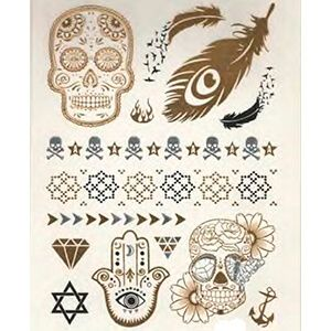 Set di Tatuaggi con Teschio con Diamanti Oro