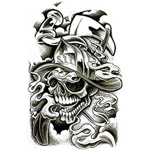 Tatuaggio teschio con Elmetto da Pompiere