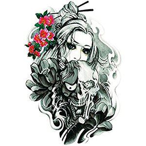 Tatuaggio con Teschio con Fiori colorati e Donna