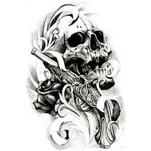 Tatuaggio con Teschio con Pistola e Rosa