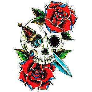 Tatuaggio con Teschio con Pugnale e Rose rosse