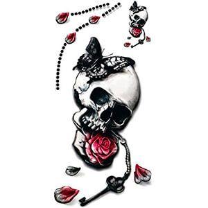 Tatuaggio con Teschio con Rosa in Bocca e Farfalla