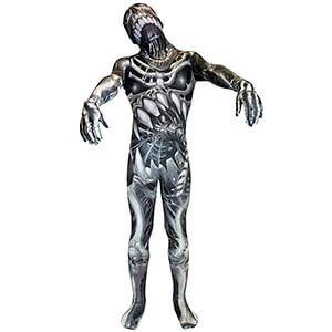 Travestimento intero da scheletro grigio e bianco con teschio